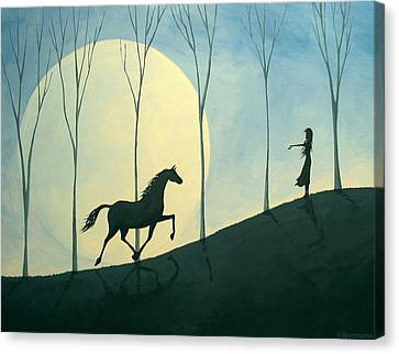 Vibe - A Folkartmama Original - Folk Art Horse Canvas Print by Debbie Criswell