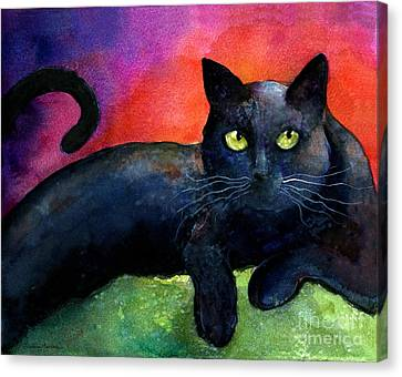 Vibrant Black Cat Watercolor Painting  Canvas Print