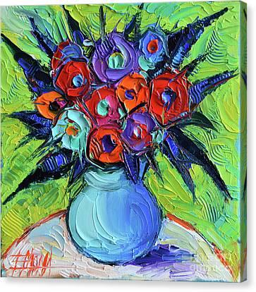 Vibrant Bouquet On Round White Table Canvas Print by Mona Edulesco
