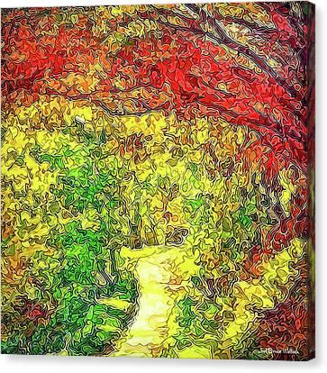Canvas Print featuring the digital art Vibrant Garden Pathway - Santa Monica Mountains Trail by Joel Bruce Wallach