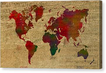 Old Canvas Print - Vibrant Map Of The World In Watercolor On Old Sheet Music And Newsprint by Design Turnpike