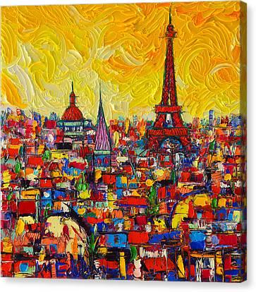 Abstract Art On Canvas Print - Vibrant Paris Abstract Cityscape Impasto Modern Impressionist Palette Knife Oil Ana Maria Edulescu by Ana Maria Edulescu