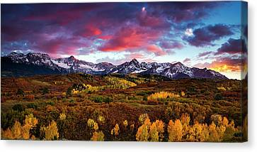 Canvas Print featuring the photograph Vibrant Rockies Sunset by Andrew Soundarajan