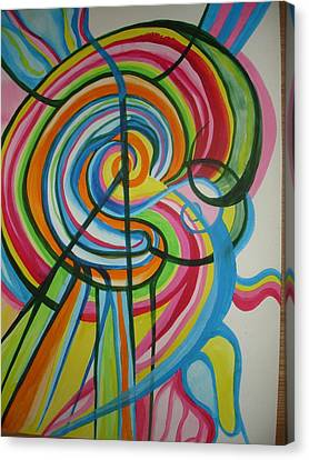 Canvas Print featuring the painting Vibrant Spirals by Erika Swartzkopf