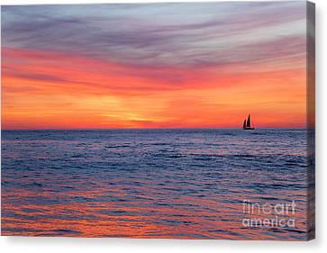 Vibrant Sunset Over Marine Street Beach, La Jolla, California Canvas Print