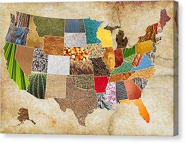 Vibrant Textures Of The United States On Worn Parchment Canvas Print