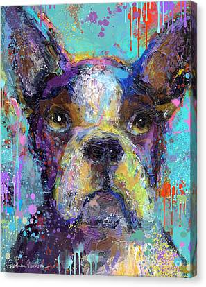Vibrant Whimsical Boston Terrier Puppy Dog Painting Canvas Print by Svetlana Novikova