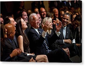 Barack Obama Canvas Print - Vice President Joe Biden Flanked by Everett