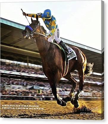 Computing Canvas Print - Victor Espinoza And American Pharoah Win The 2015 Belmont Stakes And The Triple Crown. by Thomas Pollart