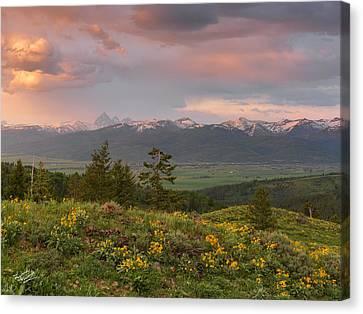 Victor Canvas Print - Victor Idaho Sunset by Leland D Howard
