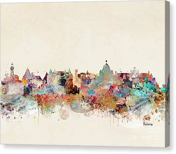 Canvas Print featuring the painting Victoria Canada Skyline by Bri B