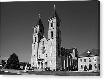 Victoria, Kansas - Cathedral Of The Plains 6 Bw Canvas Print by Frank Romeo