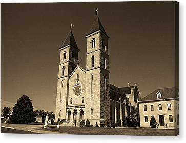 Canvas Print featuring the photograph Victoria, Kansas - Cathedral Of The Plains Sepia 6 by Frank Romeo