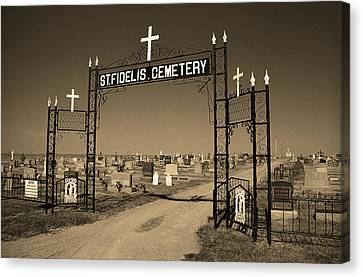 Canvas Print featuring the photograph Victoria, Kansas - St. Fidelis Cemetery Sepia by Frank Romeo