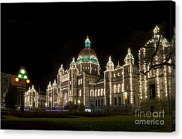 Victoria Parliament Buildings At Night At Christmas Canvas Print by Maria Janicki