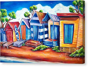 Victorian Beach Huts Canvas Print