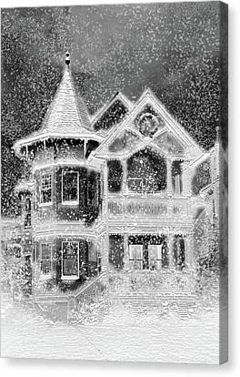 Victorian Christmas Black And White Canvas Print