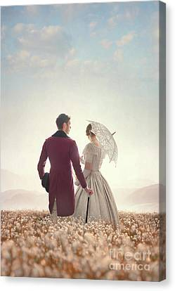 Victorian Couple Standing In A Meadow Canvas Print by Lee Avison