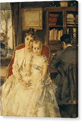 Caring Mother Canvas Print - Victorian Family Scene by Alfred Emile Stevens