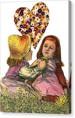 Victorian Girls Buttercup Game Canvas Print by Marcia Masino