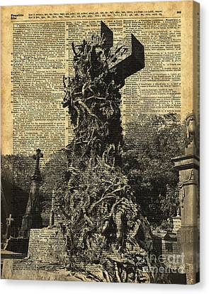Victorian Gothic Graves Over Antique Dictionary Book Page Canvas Print by Jacob Kuch