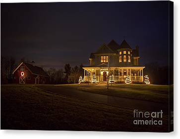 Victorian House At Christmas Canvas Print by Diane Diederich