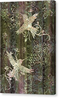 Victorian Hummingbird Green Canvas Print by JQ Licensing
