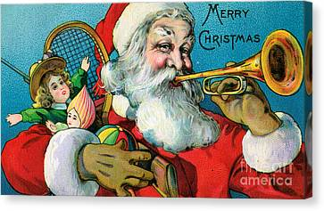 Victorian Illustration Of Santa Claus Holding Toys And Blowing On A Trumpet Canvas Print by American School