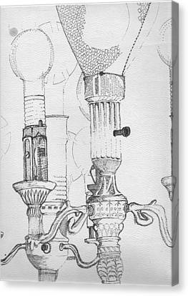 Victorian Lamp Drawing Canvas Print by Ron Hayes