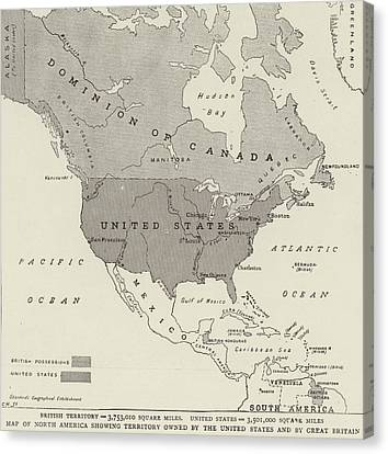 Victorian Map Of North America Showing Territory Owned By The United States And By Great Britain  Canvas Print by English School