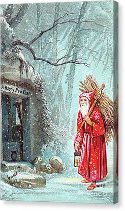 Father Christmas Canvas Print - Victorian New Year's Card With Father Christmas Carrying Bundle Of Sticks On A Snowy Night by English School