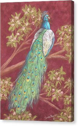 Victorian Peacock Canvas Print by Sandra Poirier