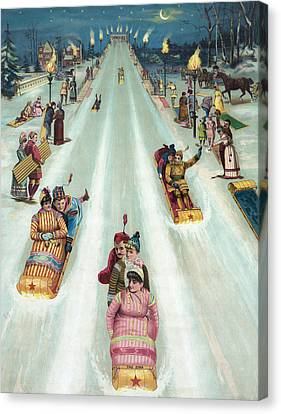 Victorian Poster Of Night Sledding Canvas Print by American School