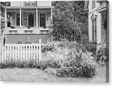Victorian Style Cottage Northport Maine Black And White Photo Canvas Print by Keith Webber Jr