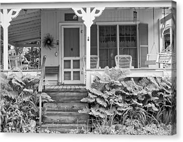 Victorian Style Cottage Northport Maine Black And White Photograph Canvas Print by Keith Webber Jr
