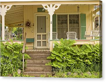 Victorian Style Cottage Porch Northport Maine Canvas Print by Keith Webber Jr