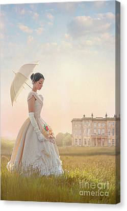 Canvas Print featuring the photograph Victorian Woman With Parasol And Fan by Lee Avison