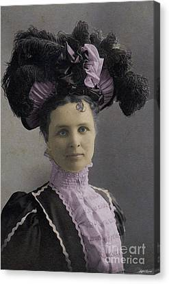 Victorian Women With Big Hat Canvas Print by Lyric Lucas