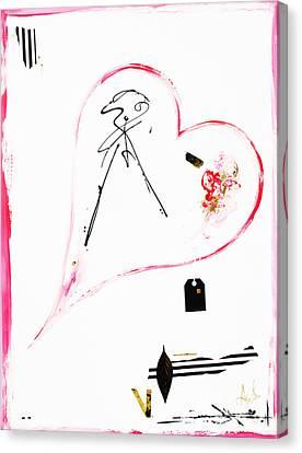 Pink Black And Gold - Minimalist Heart Art Print Canvas Print by Anahi DeCanio