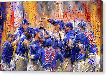 Baseball Art Canvas Print - Victory At Last - Cubs 2016 World Series Champions by Lourry Legarde