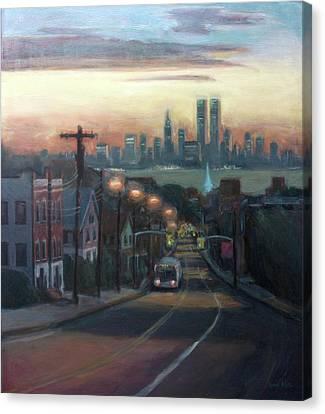 Streetscape Canvas Print - Victory Boulevard At Dawn by Sarah Yuster