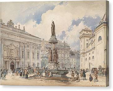 Alt Canvas Print - Vienna, Freyung With Austria Fountains by Rudolf von Alt