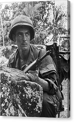 Vietnam Soldier Canvas Print by Underwood Archives
