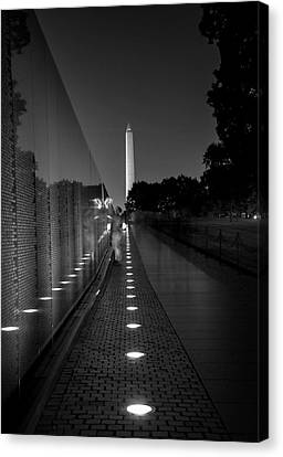 Vietnam Veterans Memorial At Night In Black And White Canvas Print by Chrystal Mimbs