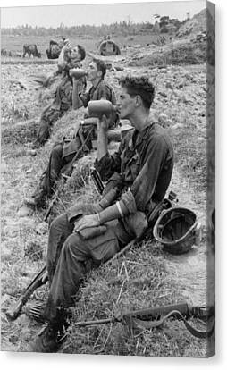 Canteen Canvas Print - Vietnam War. Soldiers Of The 25th by Everett
