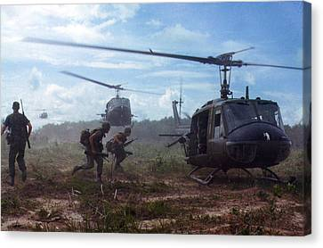 Vietnam Canvas Print - Vietnam War, Uh-1d Helicopters Airlift by Everett