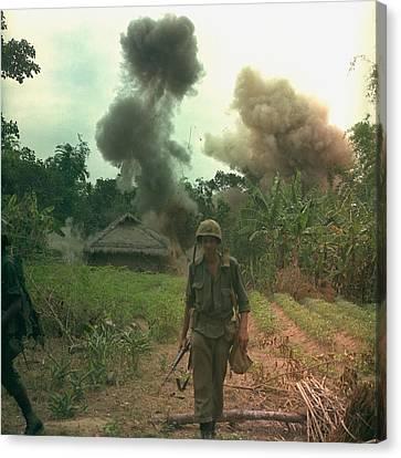 Vietnam War. Us Marines Walk Away Canvas Print by Everett