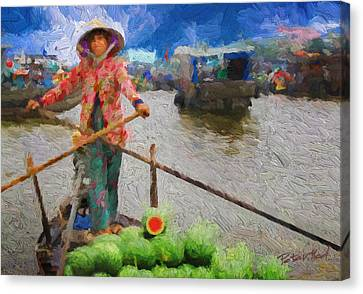 Vietnamese Woman Boating Canvas Print by Peter Moderdovsky