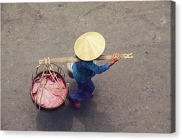 Srdjan Kirtic Canvas Print - Vietnamese Worker From Above by Srdjan Kirtic