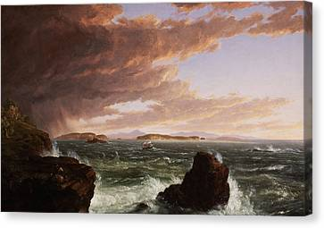 Storm Clouds Canvas Print - View Across Frenchman's Bay From Mt. Desert Island After A Squall by Thomas Cole